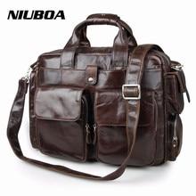 NIUBOA 100% Genuine Leather Briefcases Vintage Men Shoulder Bag Cowhid