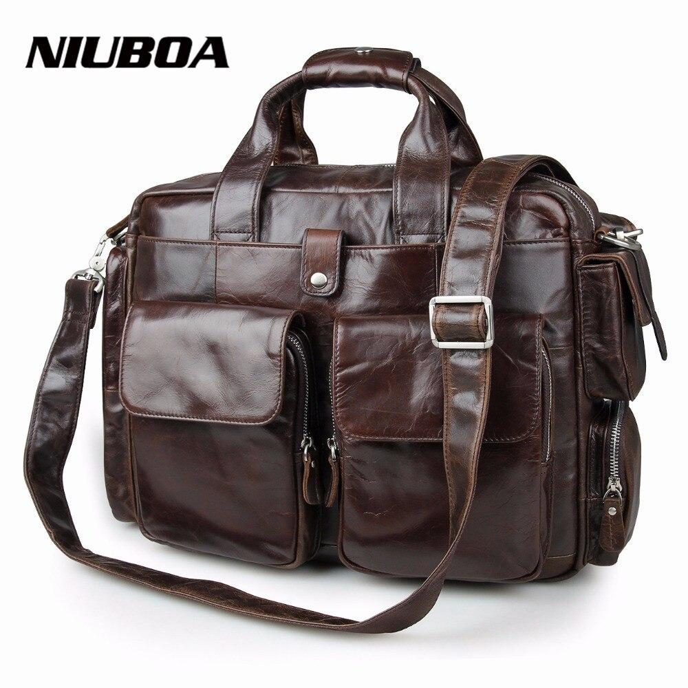 NIUBOA 100% Genuine Leather Briefcases Vintage Men Shoulder Bag Cowhide Leather Travel Messenger Bag Many Pockets Man Laptop Bag