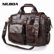 NIUBOA 100% hakiki deri evrak çantası Vintage erkek omuz çantası inek derisi deri seyahat askılı çanta birçok cepler erkek laptop çantası