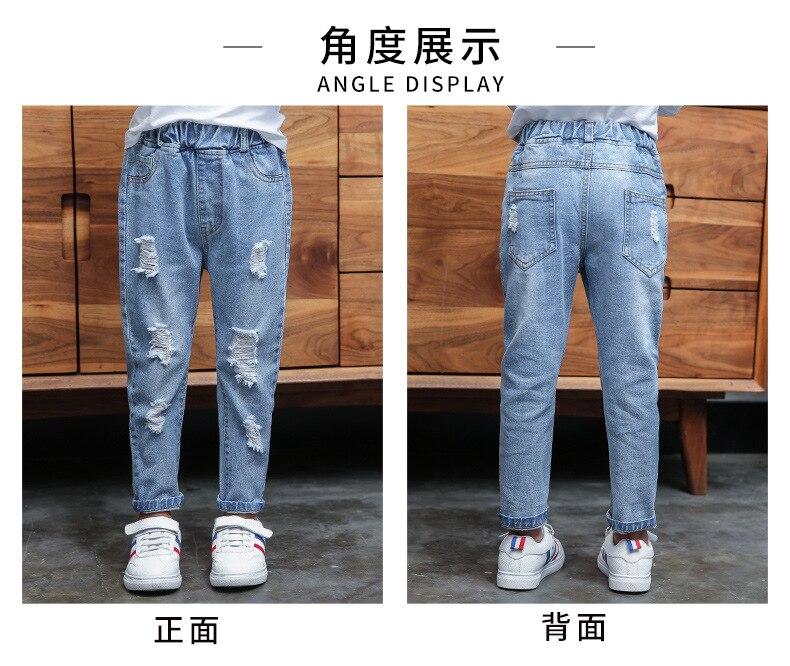 buracos jeans grandes crianças moda denim calças meninos roupas 4-13 anos