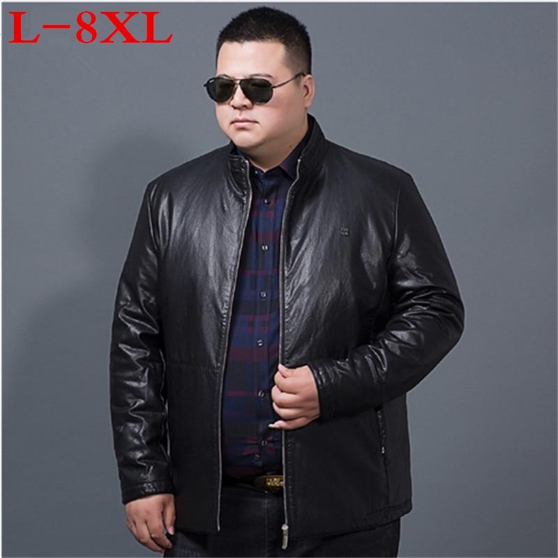 big size 8XL Men Leather Jacket Genuine Real Sheep Goat skin Brand Black Male Bomber Motorcycle Biker Man's Coat Autumn Spring