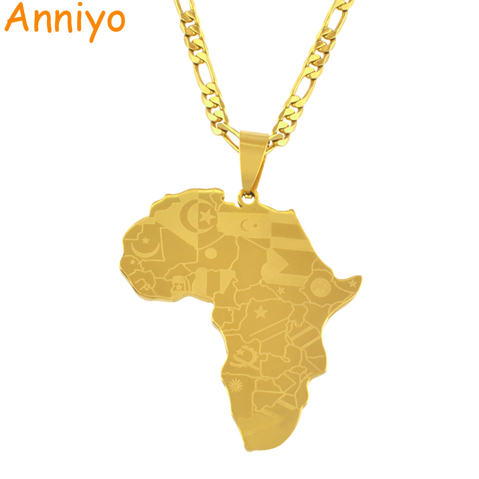 Anniyo Map of Africa Wth Country Flags Map Pendant Necklaces for Men/Women,Gold Color African Maps Jewelry Gifts #035321Anniyo Map of Africa Wth Country Flags Map Pendant Necklaces for Men/Women,Gold Color African Maps Jewelry Gifts #035321