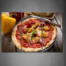 3 Piece Wall Art Painting Pizza With Yellow Pepper Knife Print On Canvas The Picture Food 4 Pictures