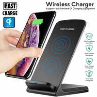 E T Qi Wireless Charger For Samsung S9 S8 Note 8 9 S7 QC3.0 10W Fast Wireless Charging for iPhone 8 XR XMax USB as phone holder
