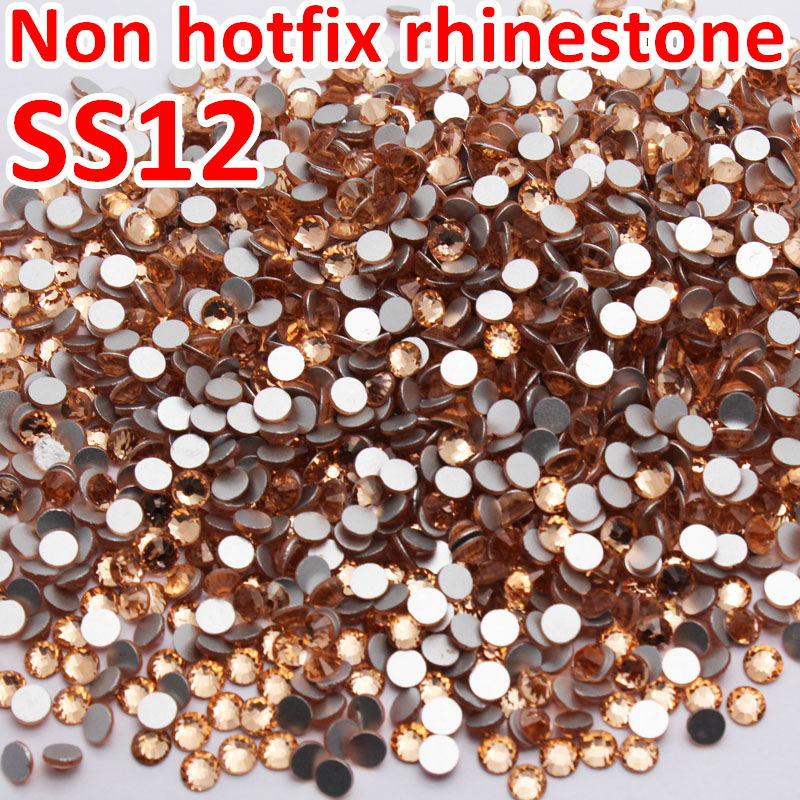 SS12 3.0-3.2mm Champagne Nail Rhinestones Lt.Peach Non HotFix Crystals glass strass Glitters for nail Art Stikcer