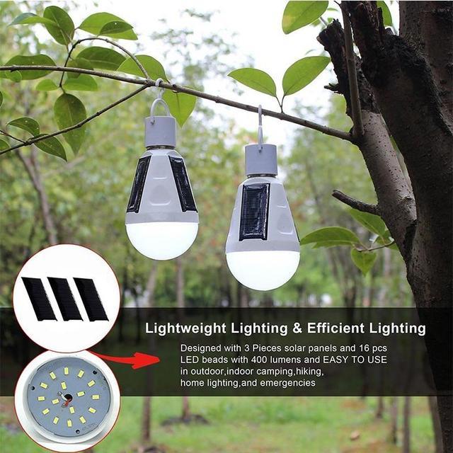 AKDSteel Rechargeable 16 LED Solaire Lumière Ampoule Crochet Lampe ...