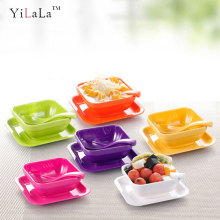 Yilala Plastic Bowl Melamine Dinner Plate Dish Set for Salad Ice Cream Fruit Dessert Unbreakable Dinnerware Children Tableware