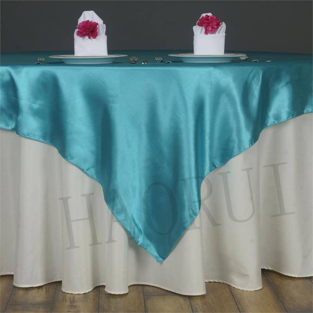 Free Shipping Turquoise Pcs X Satin Dining Table Overlay - 72 x 72 square dining table
