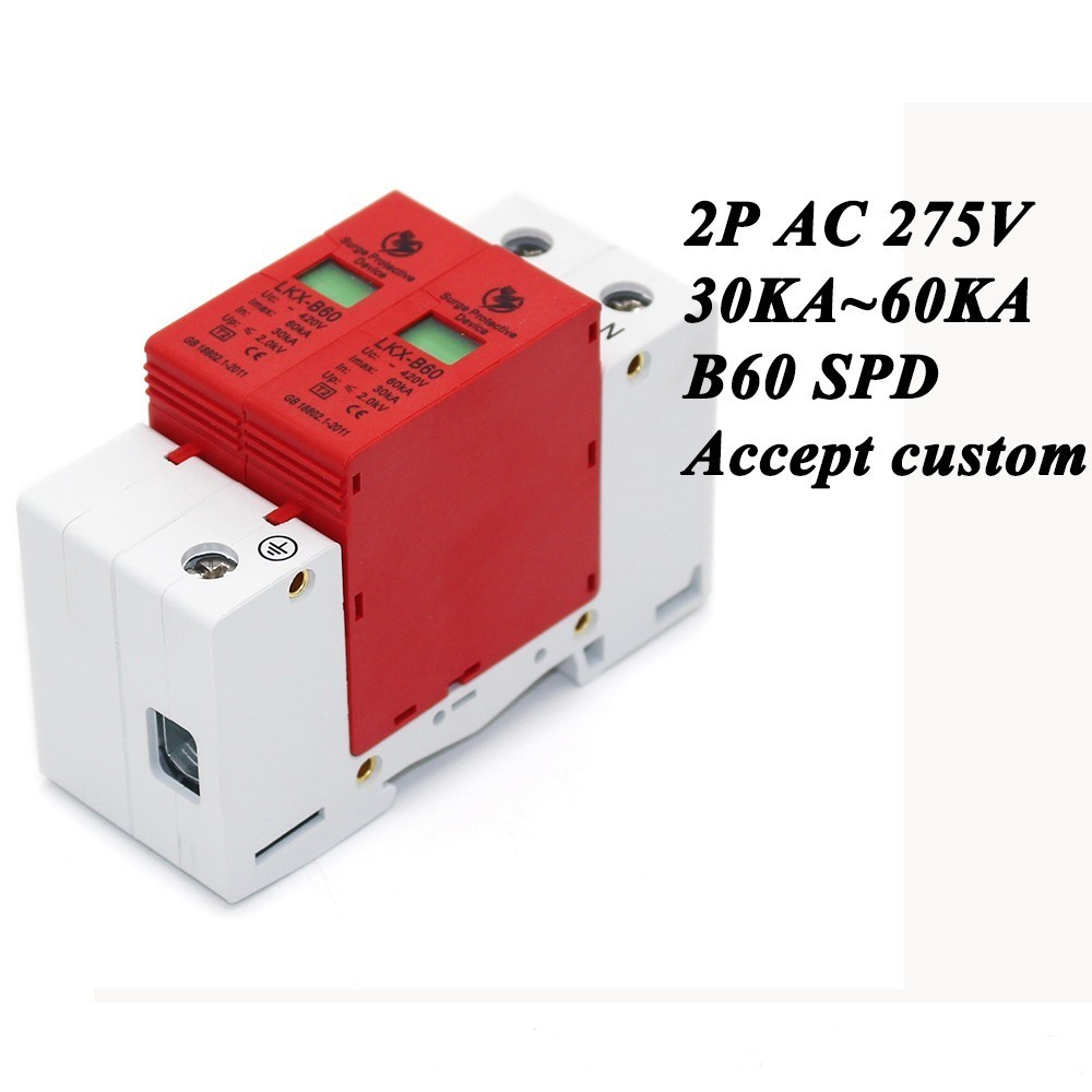 B60-2P 30KA~60KA ~275V AC SPD House Surge Protector Protective Low-voltage Arrester Device 1P+N Lightning protection spd surge thunder lightning protection device arrester 2p 40 80ka din rail mount