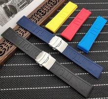 Pulseira de relógio de borracha de silicone 22mm 24mm preto amarelo vermelho azul pulseira para navitimer/avenger/breitling cinta toos