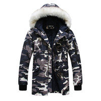2018 New Brand Made of Goose Feather Winter Jacket Men Camouflage Thick Jacket Men's Parka Coat Male Fur Collar Hooded Parkas