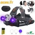 BORUIT 6000LM 3x XML T6 белый + 2R2 395nm УФ  светодиодный  фиолетовый налобный фонарь  налобный фонарь  налобный фонарь светильник  2 * Перезаряжаемые аккум...