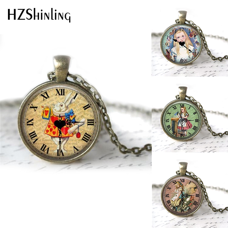 HZShinling Alicia en el País de las Maravillas Collar hecho a mano colgante de cristal Cabochon Glass Art Glass Cabochon Necklace for Women HZ1