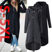 ZOGAA 2019 NEW Autumn Winter Women's Long Capes Hooded Solid Casual Zipper Slim Fit Cloak Plus Size 5XL Capes with Hoods Women