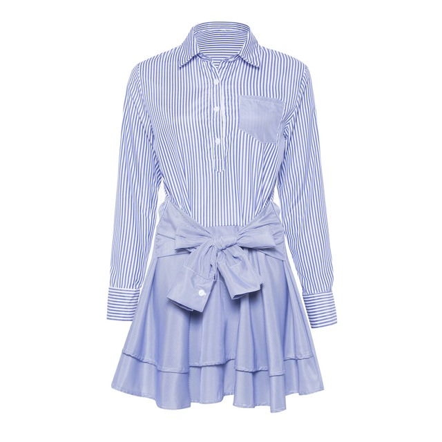 9a6226eb637 Women Blue Striped Shirt Dress Autumn 2018 Ruffle Bowknot Waist Belt Skinny  High Street Fashion Girls