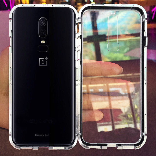 Built-in Magnet Case for OnePlus 6 Clear Tempered Glass Magnetic Adsorption Case for One+ 1+ 6 Metal Ultra Cover bumper 5