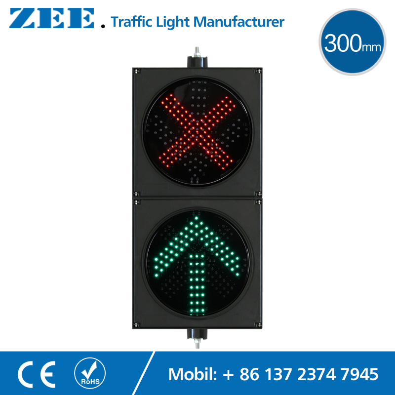 12 inches 300mm 2 aspects LED Traffic Lane Light Toll Station Traffic Sign Light Parking Lot Entrance Exit LED Traffic Signals led electronic traffic lane control signal traffic lane indicator light with red cross