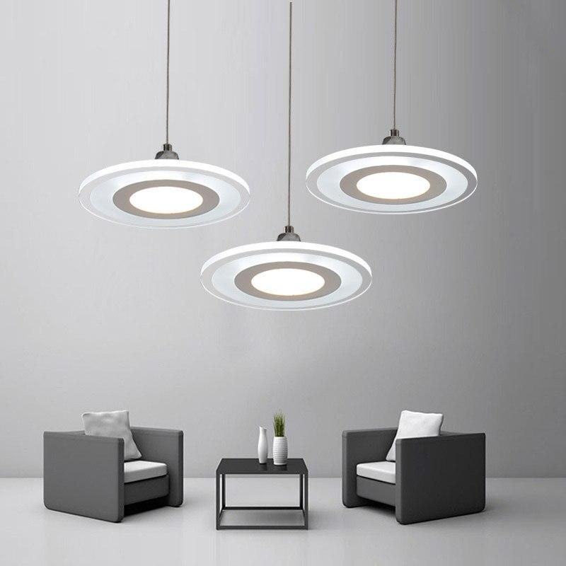 New 12W LED Cord Lamp Modern Living Room Kitchen Restaurant Pendant Lights Fixtures White Acrylic Decor Home Lighting 110-220V