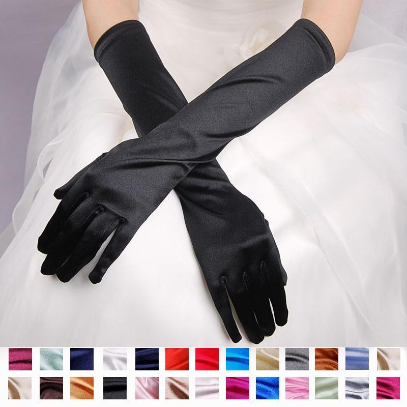 Party Gloves For Women Arm Long Satin Opera Gloves Handschoenen With 16 Colors Gants Femme