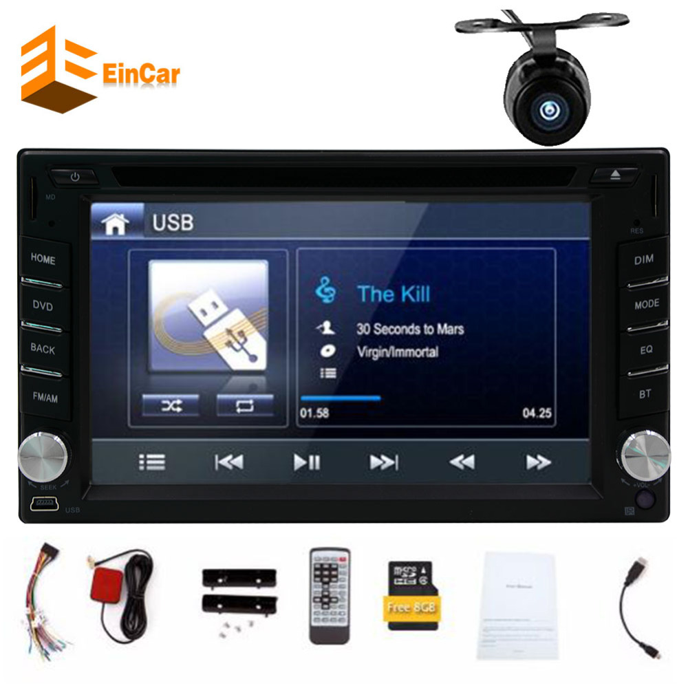 Double din Car DVD Player Bluetooth in dash 6.2inch car radio With 8GB Map GPS Navigation audio stereo FM AM RDS USB camera auto joyous j 2611mx 7 touch screen double din car dvd player w gps ipod bluetooth fm am radio rds