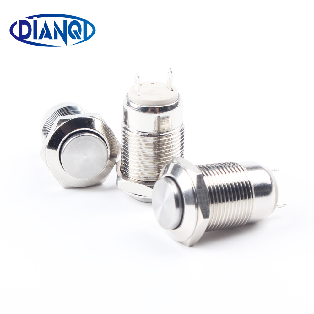 12mm metal push button waterproof nickel plated brass switch high head shape momentary self reset 1NO 12GT.F.C high top quality c shape brass metal