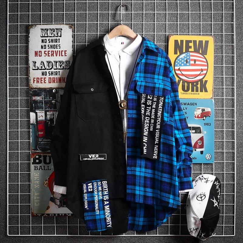 Hip Hop Streetwear do vintage Verificado Ocasional Dos Homens Camisa de Algodão Solto Plus Size Camisas Da Forma Dos Homens Coreano Moda de Rua Camisas T6V1