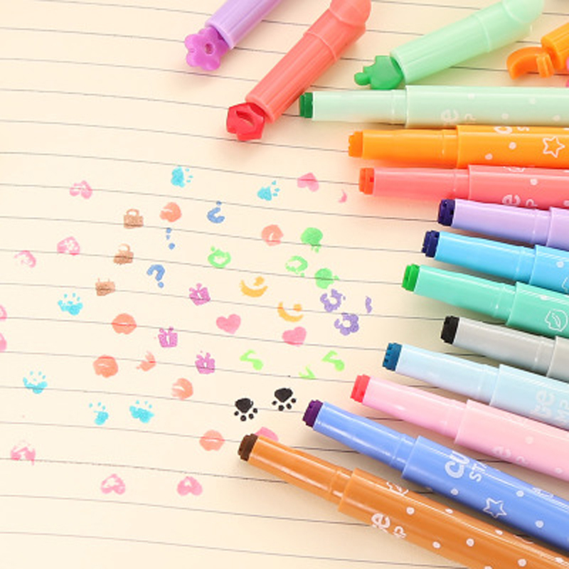 10pcs/lot Color Seal Highlighter Diy Student Study Focus Marker Stroke Creative Stationery