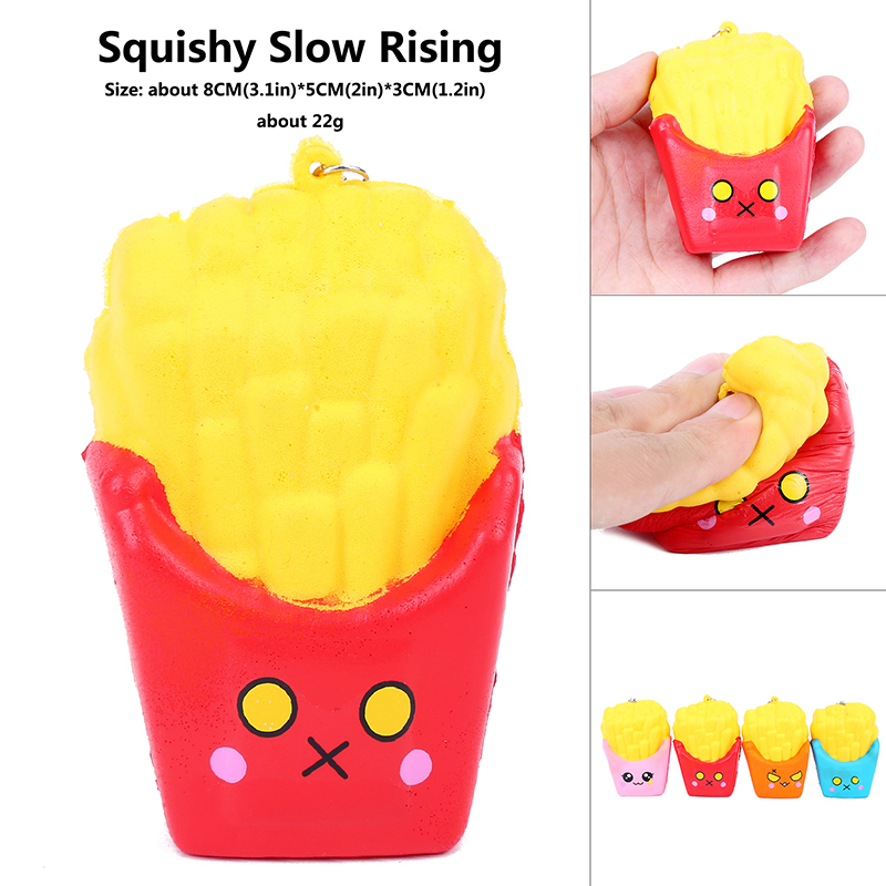 squis food cute original mini font b kawai b font stickers French Fries Antistress Squeeze squash
