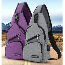 30378be05ef1 2018 мужские нагрудные сумки слинг плечо зарядка с гарнитурой отверстие  подходит мужской досуг износостойкая сумка через