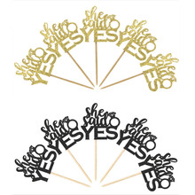 12pcs Gold And Black She Said Yes Cupcake Topper Bridal Shower Wedding Party Bride To Be Decor Free Shipping