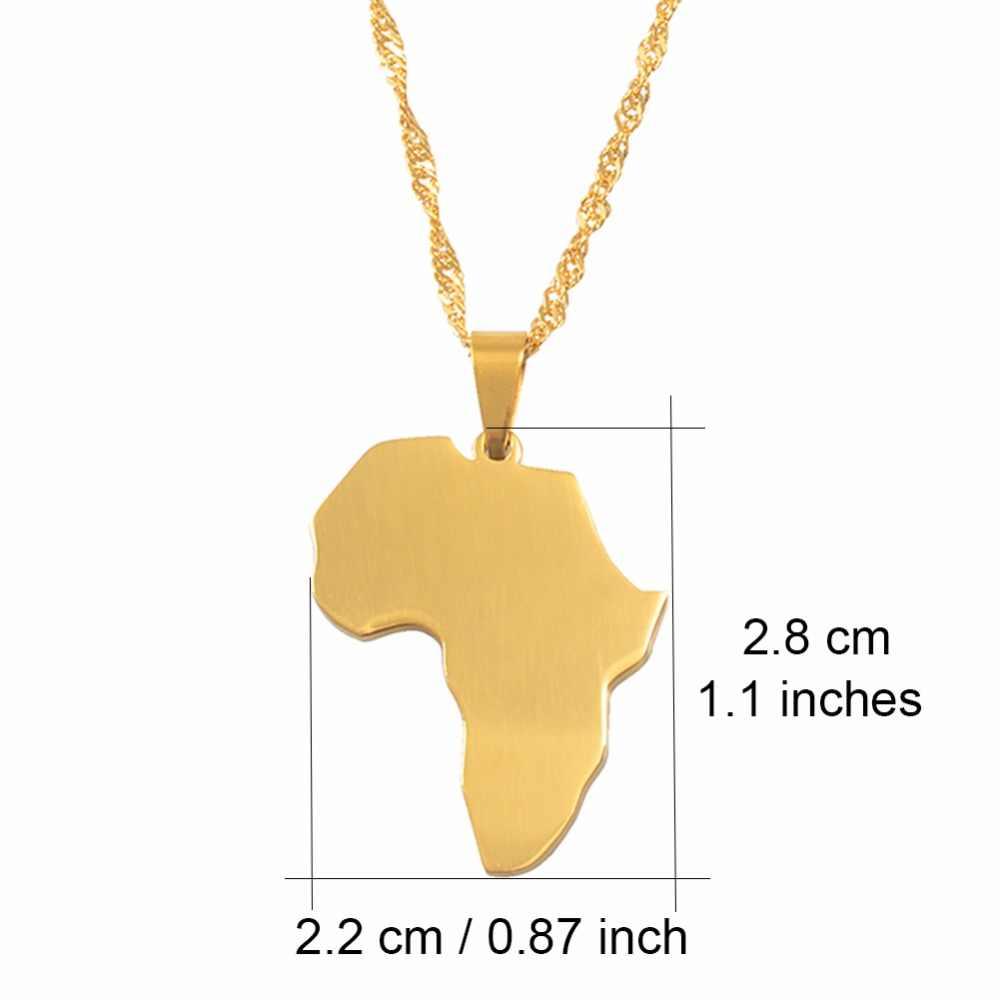 Anniyo אפריקה מפת שרשרת תליון זהב צבע תכשיטי מותג אופנה תכשיטי נירוסטה אפריקאי מתנות #058821