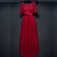 C V Bride Evening Dress Long Design 2017 New Half Sleeve Red Dinner Lace Evening Party