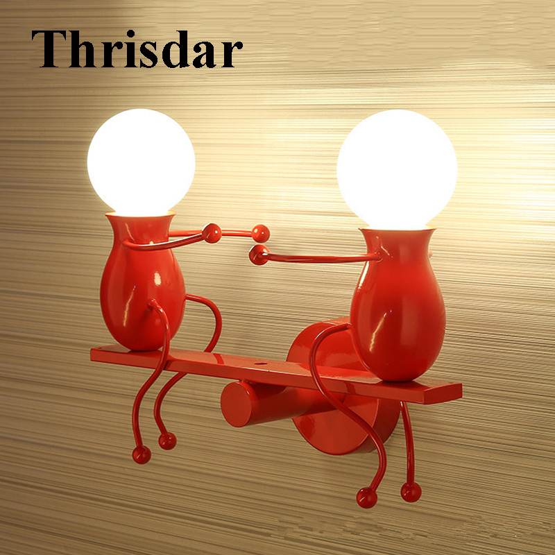 Thrisdar E27 Modern Doll LED Wall Light Creative LED Mounted Iron Sconce Wall Lamp for Kids Baby Room Bedroom Bedside Hotel modern bedroom bedside wall lamp e27 led creative mounted metal light sconce for living room hallway hotel home indoor lighting