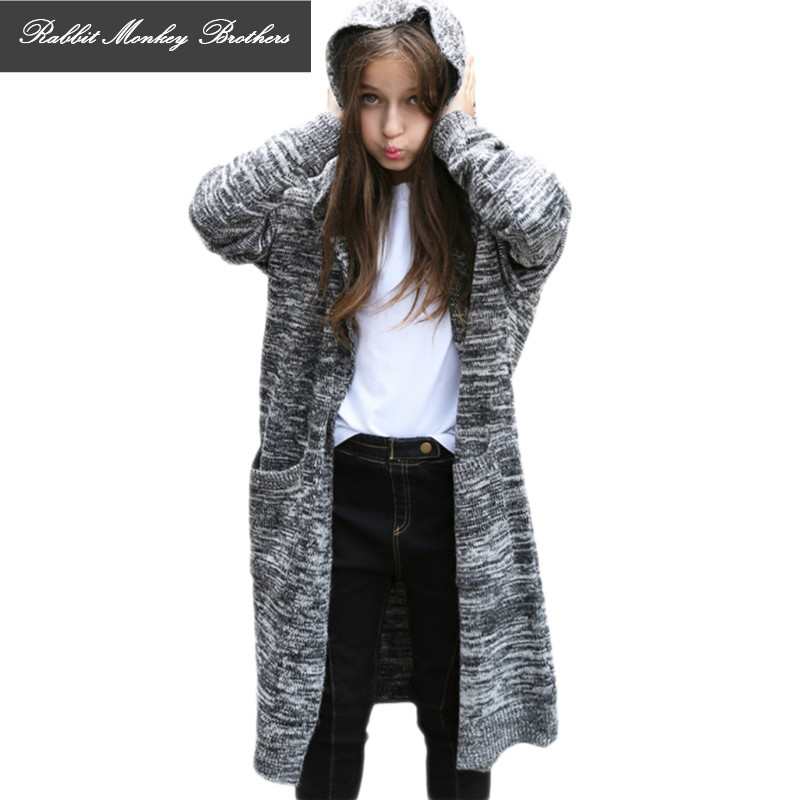 Girl long coat sweater thick loose knit cardigan Girls sweater thick coat Long loose children sweater 12-15 years old cardigan open knit long sweater