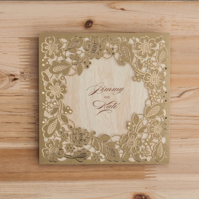 WISHMADE Personalized Gold Laser Cut Paper Square Wedding