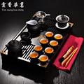 Чайный набор кунг-фу Исин фиолетовый песочный чайник керамический чайный арт из твердой древесины чайный столик