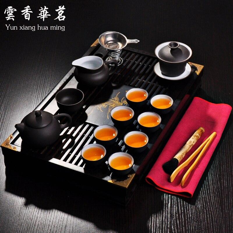 Juego de té de Kung fu Yixing arena púrpura tetera de Cerámica Arte de té de madera maciza bandeja de té mesa de té