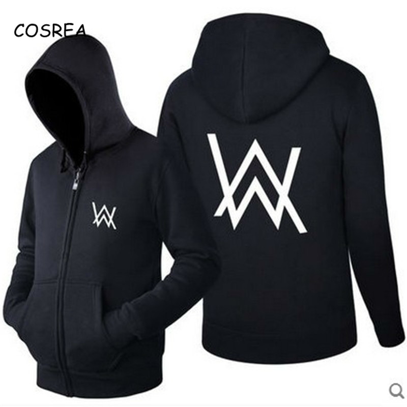 Music DJ Comedy Alan Walker Zipper Hoodies and Sweatshirt Coat Top Hip Hop Hoodies Hat Mouth Mask Cap Visor DJ Clothes Men Women