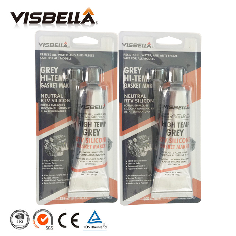Visbella A Quality Neutral RTV Gasket Maker Grey 85g 2 PC Lot High Temperature fast Silicone Glue Repair Tool Sealant Adhesive