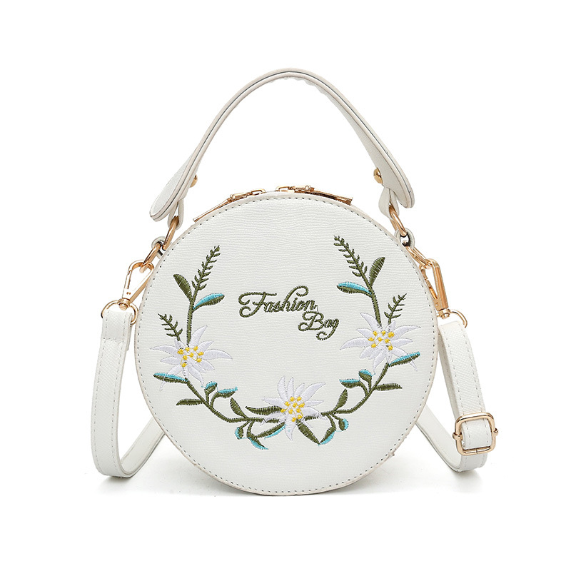 New Circular Embroidery Flower Crossbody Bag for Women Shoulder Bags National Ca