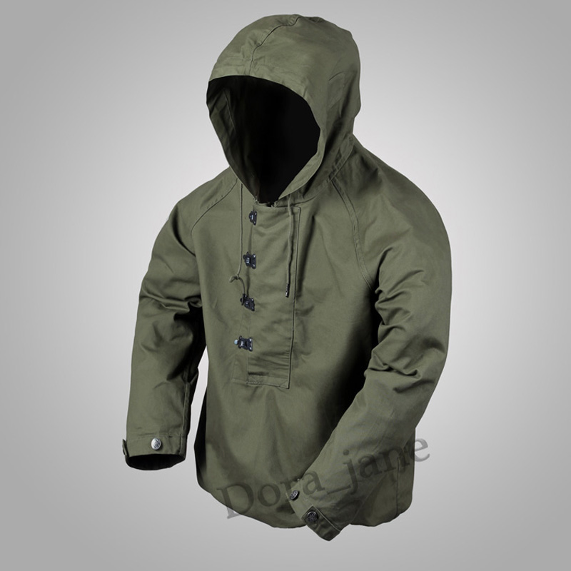 Men/'s Workwear USN Vintage Navy Hooded Deck Suit Military Jacket Retro Coat 2018