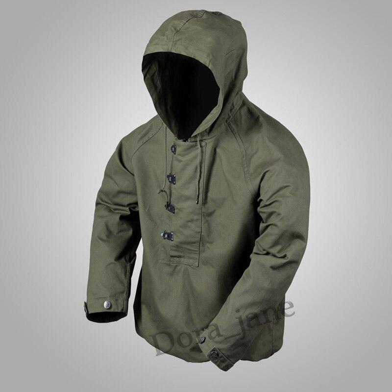 2018 USN Wet Weather Parka Navy WW2 Deck Suit Military Mens Hood Cotton Jackets Vintage Coat ...