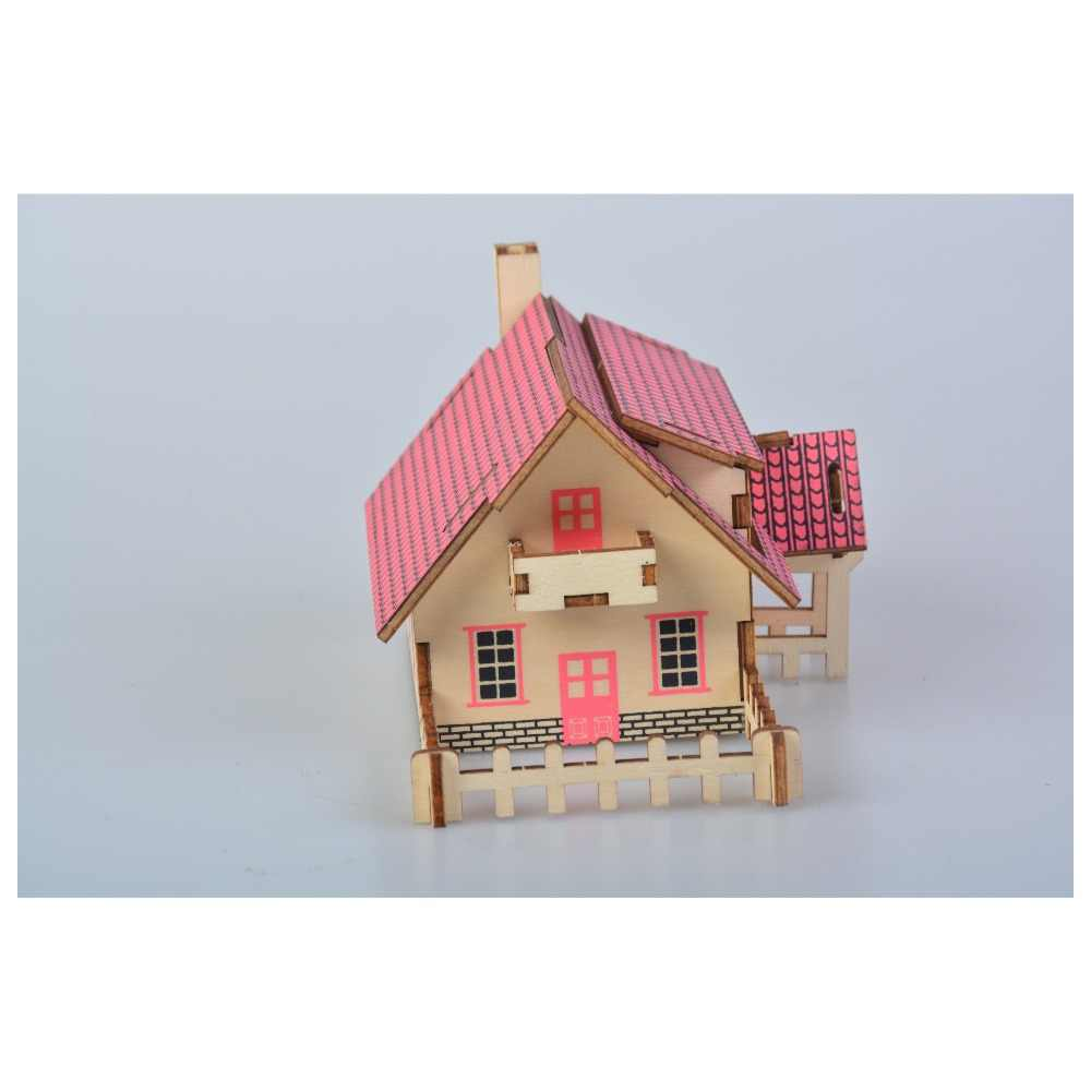 Kid craft kit Romantic Cottage Model 3D Puzzles   DIY Jigsaw Brain Games Educational Toys for 3 Years Old Gift Beautiful House Building