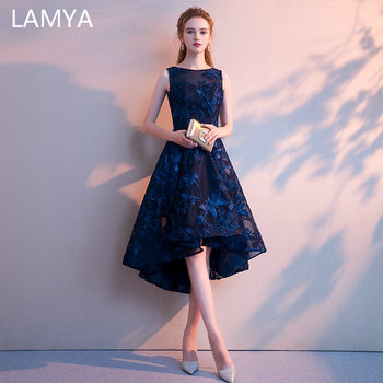 LAMYA Customized Simple High Low Prom Dress 2019 Elegant Short Front Long Back Evening Party Dresses Vestido de Festa Longo 1