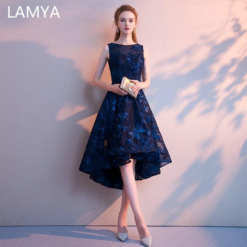 Lamya personalizado simples alta baixa baile de formatura vestido 2019 elegante curto frente longa volta vestidos de festa à noite