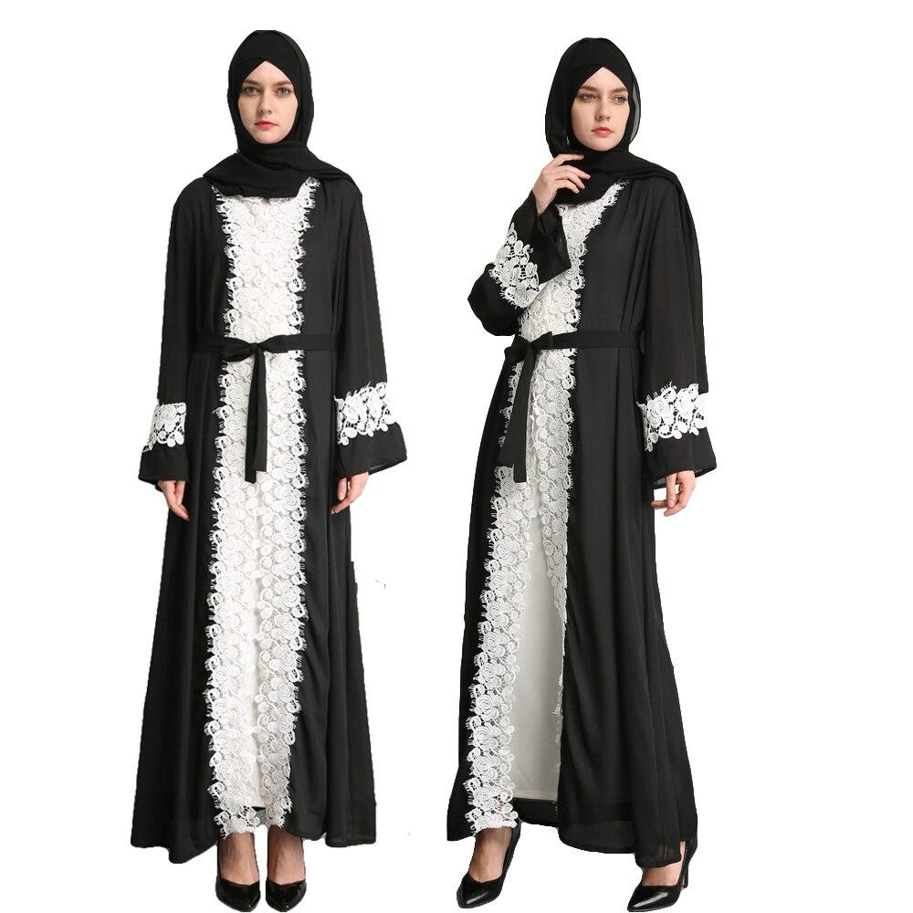 Dubai Abaya Classic Lace Side Patchwork gasa vestido musulmán frente Cardigan Negro Abaya Jilbab Vintage manga larga vestidos