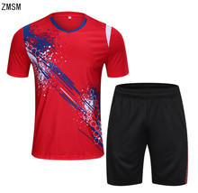 ZMSM 2018 Short Men's Tennis Shirts Shorts Set Badminton Table Tennis Uniforms Fitness running Breathable Sport Clothes B004
