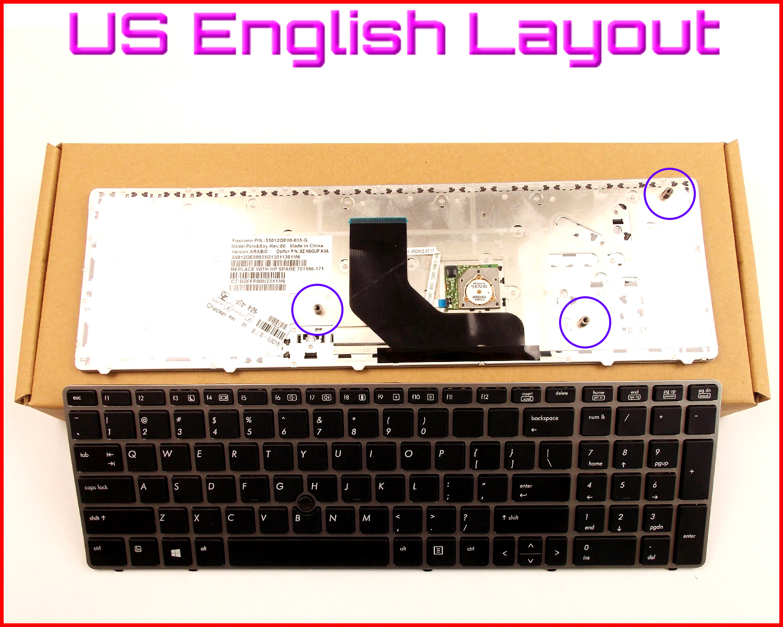 New Keyboard US English Version for HP ProBook 6560B 6565B 6570B 8560B 6560P 6575B Laptop W/Silver Frame & Pointer