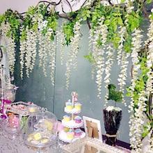 silk wisteria white artificial flowers vine ivy plant fake tree garland hanging