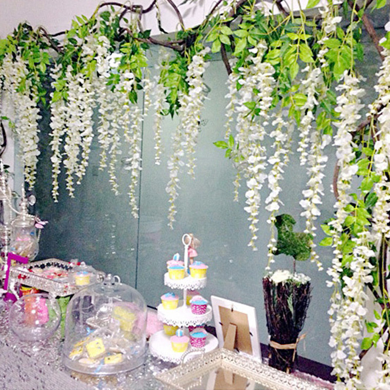 Wedding Flower Decoration Photos: Silk Wisteria White Artificial Flowers Vine Ivy Plant Fake
